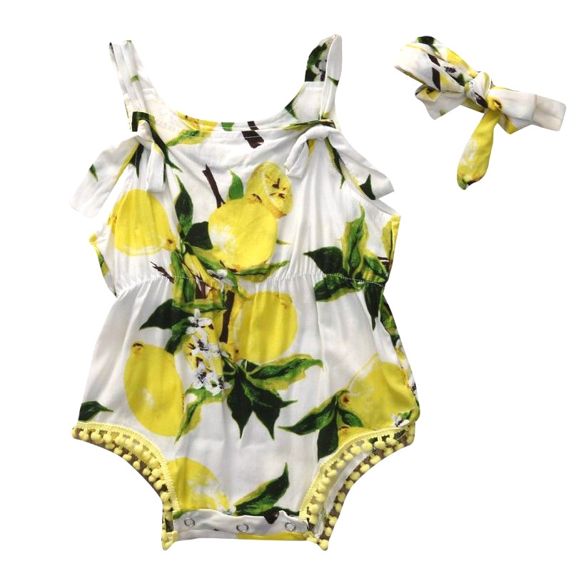 Cool 2PCS Set Hot Sale Newborn Kids Baby Girl Sleeveless Lemon Strap Romper Bodysuit Jumpsuit Headband 2pcs Outfits Cute Clothes