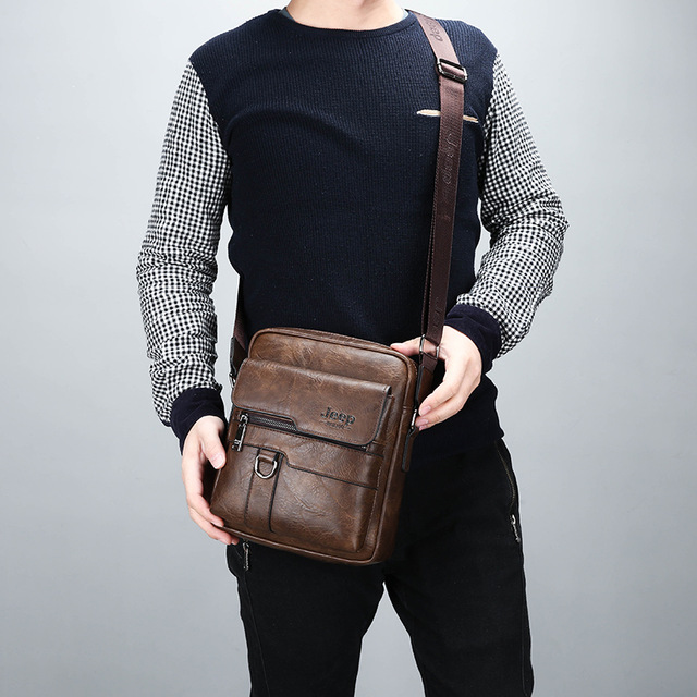 JEEP BULUO Luxury Brand Men Messenger Bags Crossbody Business Casual Handbag Male Spliter Leather Shoulder Bag Large Capacity 4
