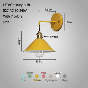 Image 2 - Modern simple iron wall lamp country home deco wall light LED with 7 colors for bedroom living room restaurant cafe shop aisle