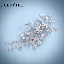 JaneVini Shiny Rhinestone Hair Tillbehör Crystal Hair Tiaras för Bride Bling Blommor Wedding Women Headband Haar Jewelry 2018