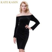 Kate Kasin Summer Dress Women 2017 Elegant Velvet Off -Shoulder Long Sleeve Robe Vintage Sexy Slim Bodycon Pencil Party Dresses