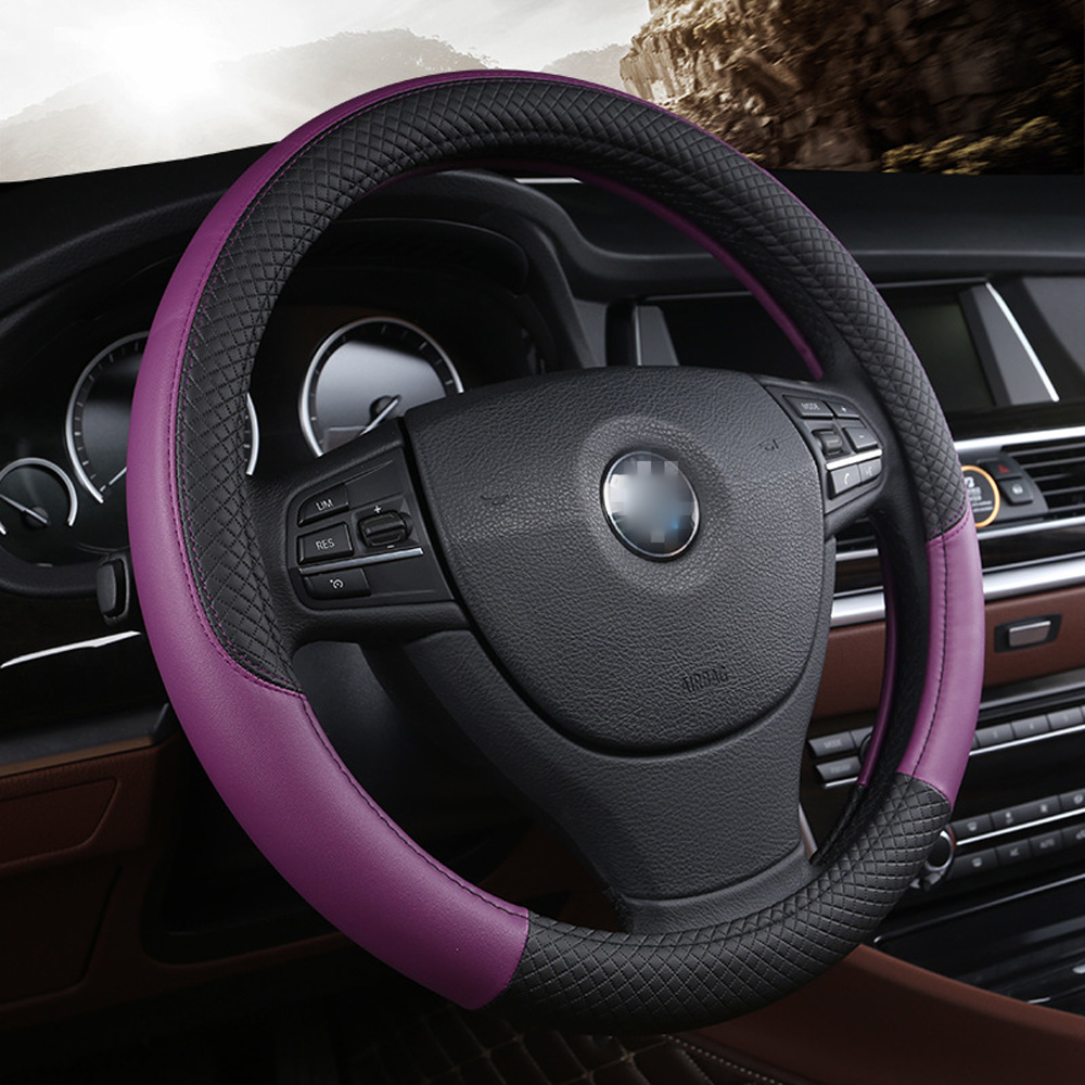 Universal Steering Wheel Cover PU Leather 15 inch Automotive Car Soft Breathable Anti slip fits 38cm/15