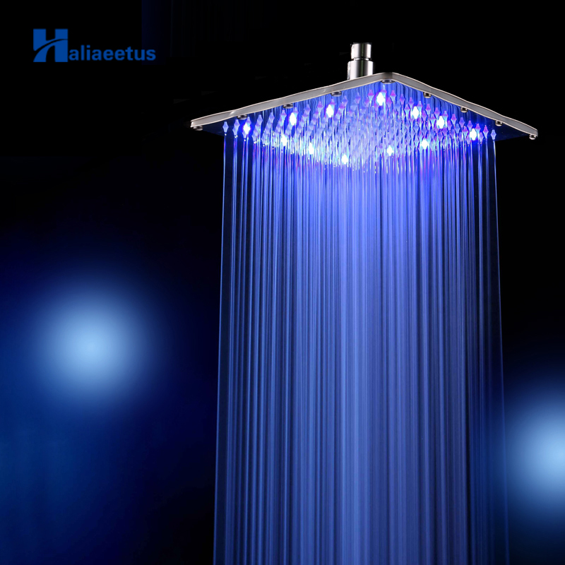 Rainfall Led Shower Head Arm.water Powered 3 Colors Changed 25cm