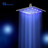 10 Inch Rainfall LED Shower Head Without Shower Arm.Water Powered 3 Colors Changed 25CM * 25CM Showerhead. Led chuveiro ducha