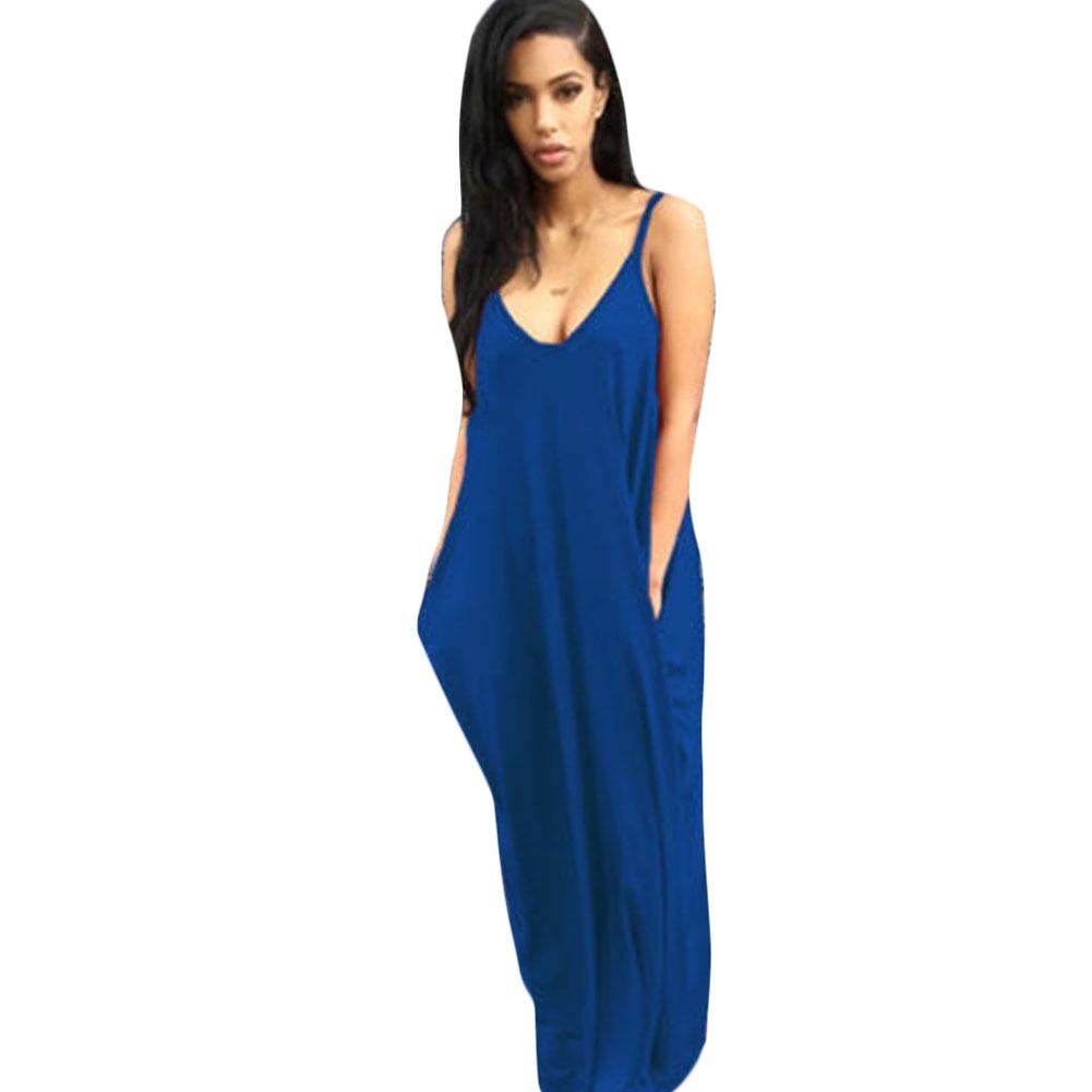 Casual Loose Maxi Dresses 2017 New Fashion Sling White Orange V Neck Pocket Big Swing Temperament Summer Backless Long Dress