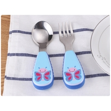 NEW 1 Set Baby Tableware Spoon Fork Stainless Steel Cartoon Dinner Dish Feeding Food