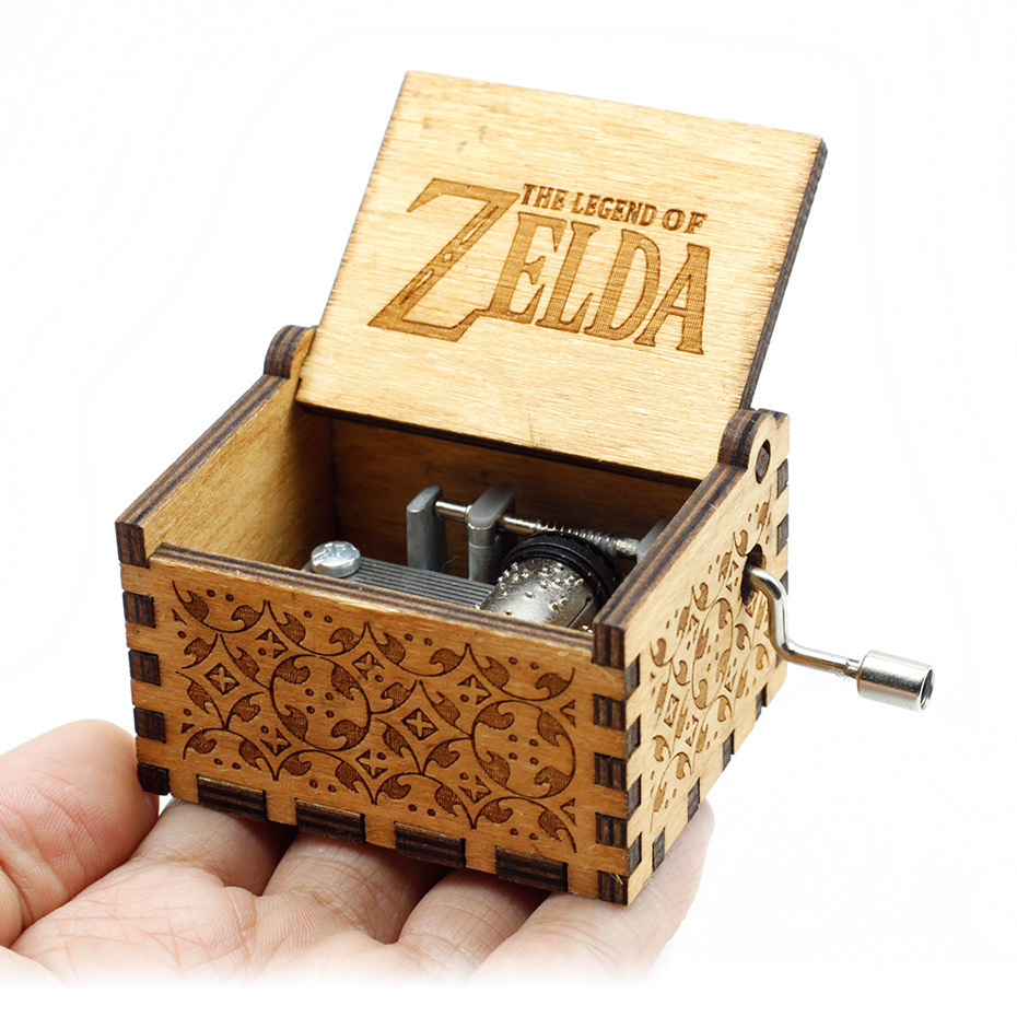 Antique Carved Hand Cranked Wood Music Box The Legend Of Zelda Castle In The Sky Let Le Go Birthday Christmas Gift