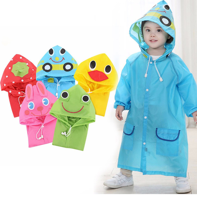 LO HOME Kids Raincoat Girl Boy Cartoon Kids Poncho with Hood Reflective Strip
