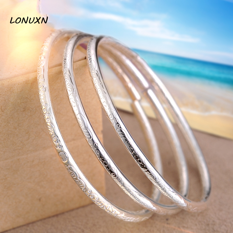 2 pieces 36g genuine 999 Sterling Silver open Bracelet bangles female Top Quality Scrub stars Pattern lovers best gift with box