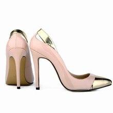 LOSLANDIFEN Classic Sexy Pointed Toe 11cm High Heels Women Pumps Shoes Spring Wedding Pumps Big Size35-42 5 MIX GOLD Color 302-1