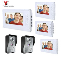 Yobang Security 4*7 inch Wired Video Door Bell Phone System Video intercom equipment Home Security Video intercom 2 Camera