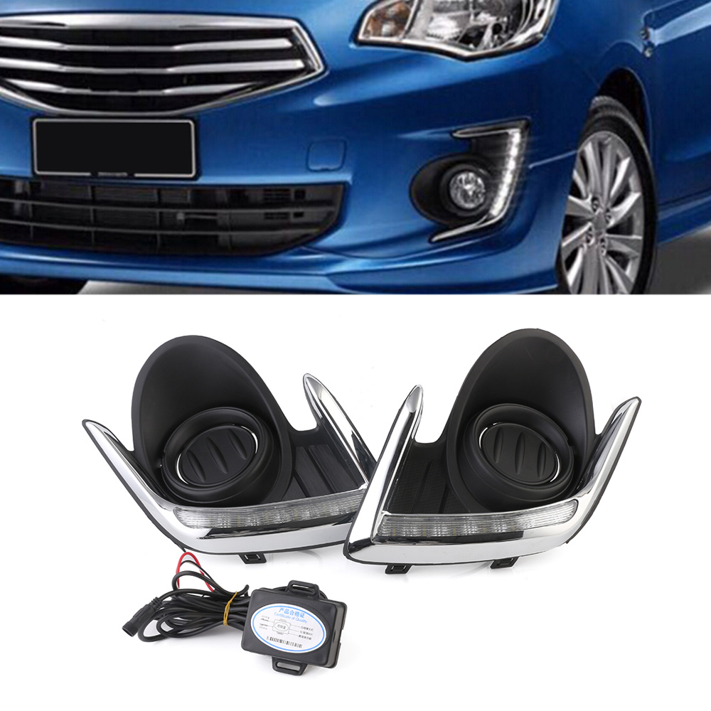 White Car LED Daytime Running Light Driving Fog Lights DRL Day Light For Mitsubishi Attrage 2012-2015 Free Shipping D35 auto car led drl daytime running lights fog lamp white day light for toyota highlander 2015 2016 2017 free shipping