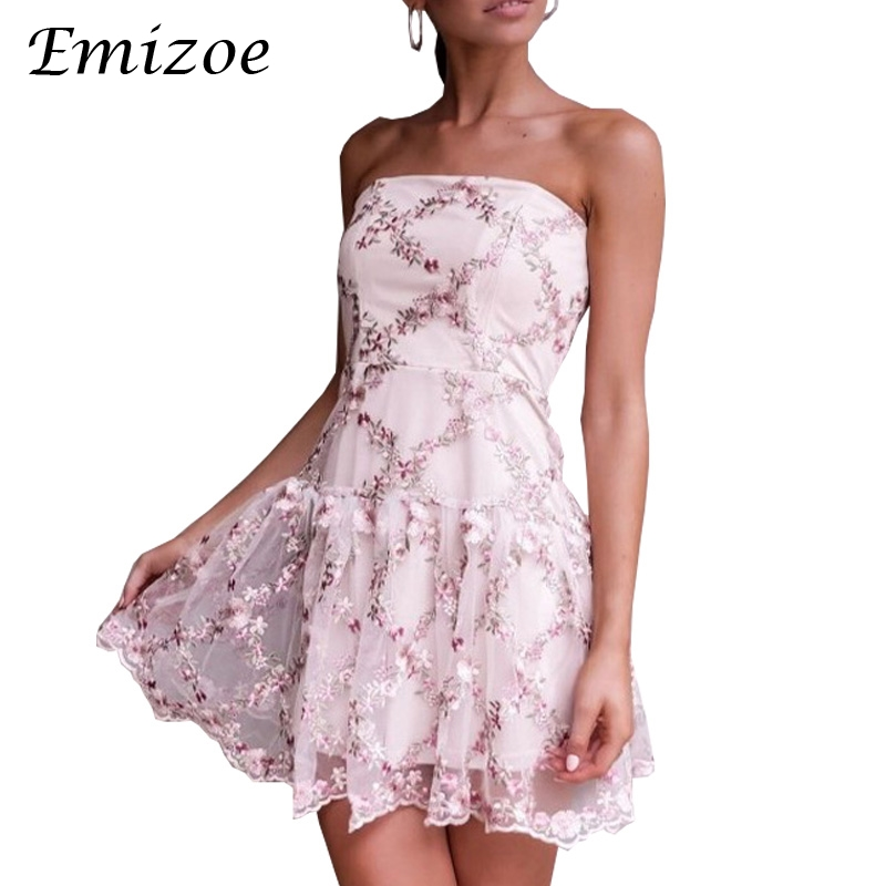Emizoe Padded bra off shoulder women summer dress Floral print short beach dress Elegant party mini sexy dress vestidos