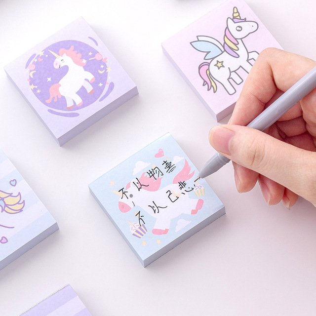 40 pcs/lot Cartoon Colorful Unicorn Memo Pad (40 ชิ้น)