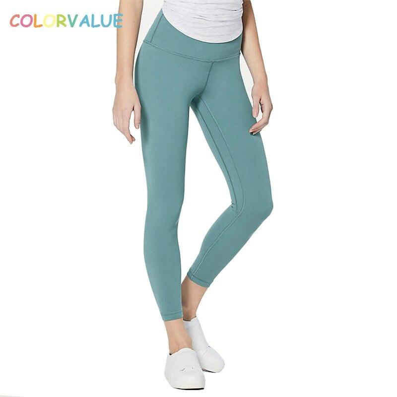 Colorvalue Super Soft Hip Up Yoga Fitness pantalones mujeres 4-Way elástico deporte medias Anti-sudor cintura alta gimnasio Atlético Leggings