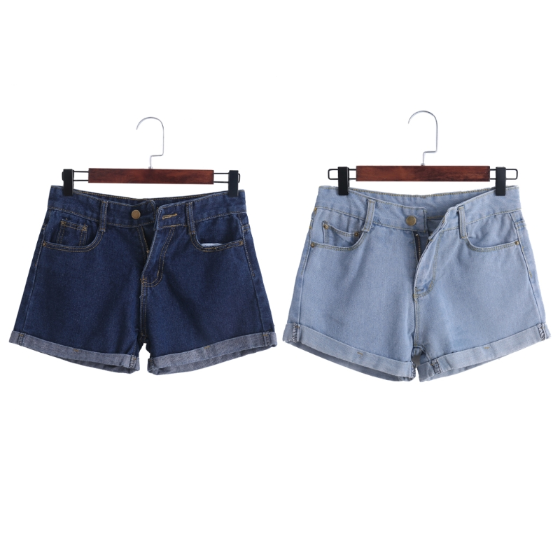 2017 Summer Retro High Waist Women Denim Shorts Loose Thin Curling Fashion Jeans summer women fashion high waist jeans shorts worn hole straight denim shorts solid blue curling edge poket casual shorts