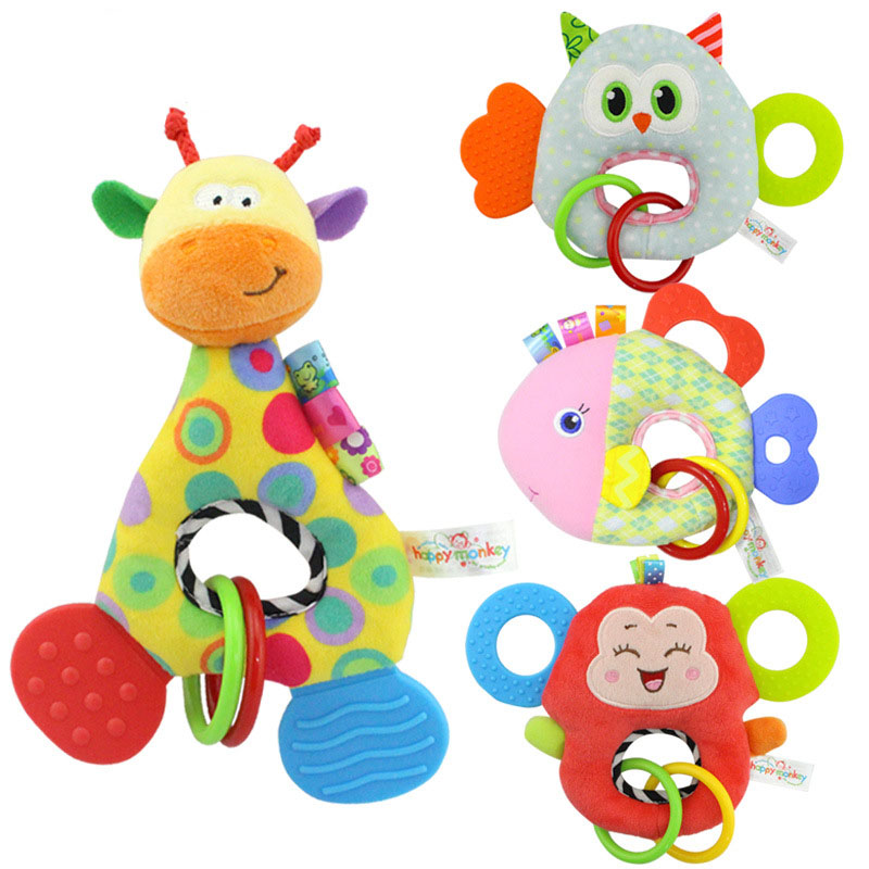 Baby Infant Cartoon Animal Giraffe Handle Rattles Soft Plush Safety Teether Toys Teeth Care Doll For Kid I0066