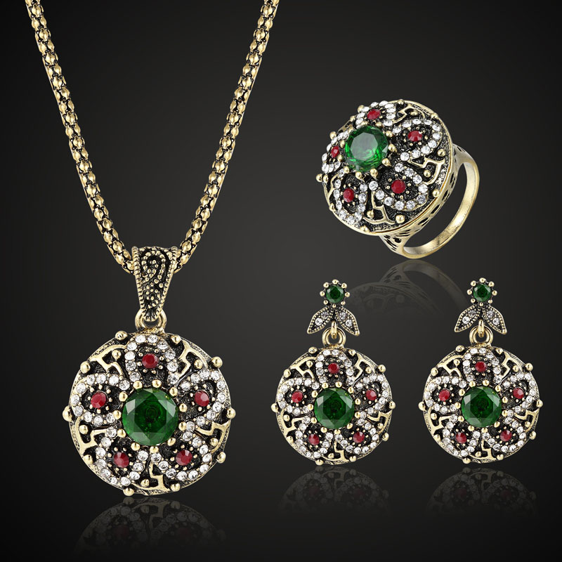 colorful Turkish Jewelry Sets Fashion Women Vintage Necklace Earring Rings Jewellery sets Brand