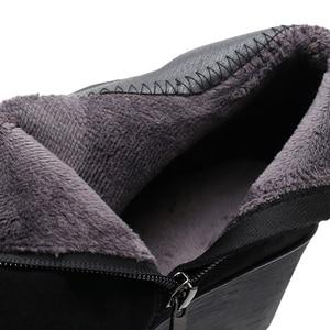 Image 5 - GKTINOO 2020 hakiki deri sıcak kışlık bot ayakkabı kadın yarım çizmeler kadın takozlar kadın çizme platform ayakkabılar