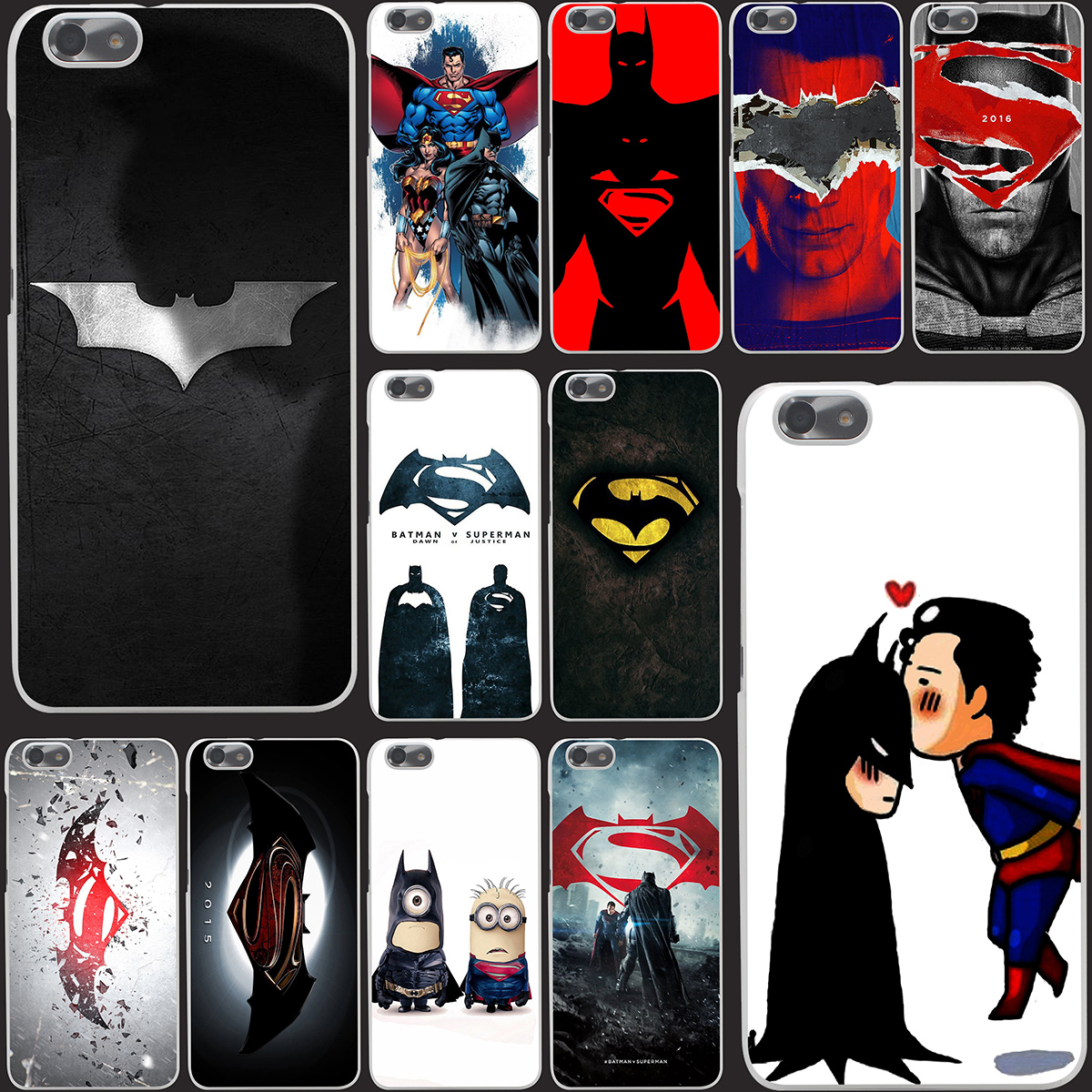 1381-OIE Batman  Superman  Hard Case Transparent Cover for Huawei P6 P7 P8 Lite P9 Lite Plus & Honor 6 7 4C 4X G7