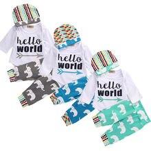 0-18M Newborn Infant Baby Boys Girls Clothes Hello World Long Sleeve Bodysuit Elephant Pant Hat 3pcs Outfit Bebek Clothing Set