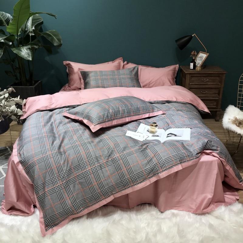 60S Египетский хлопковый клетчатый Комплект постельного белья, 4 шт., Королевский размер, Шелковый домашний комплект постельного белья из хло...