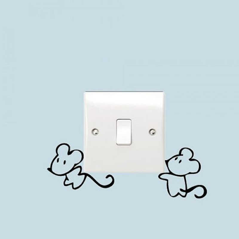 Kucada nero creativo diy divertente del mouse interruttore wall stickers decorazione della casa carta da parati jg1928