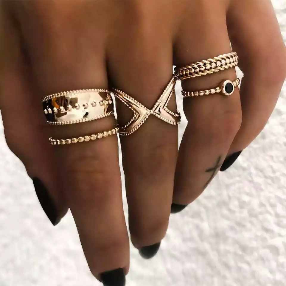 GEREIT 6 шт./лот Boho золотого цвета кольцо набор для женщин Кристалл в виде капли воды CZ Кольцо для средней фаланги пальца Кольца Ювелирные Изделия Bague Homme Оптовая Продажа