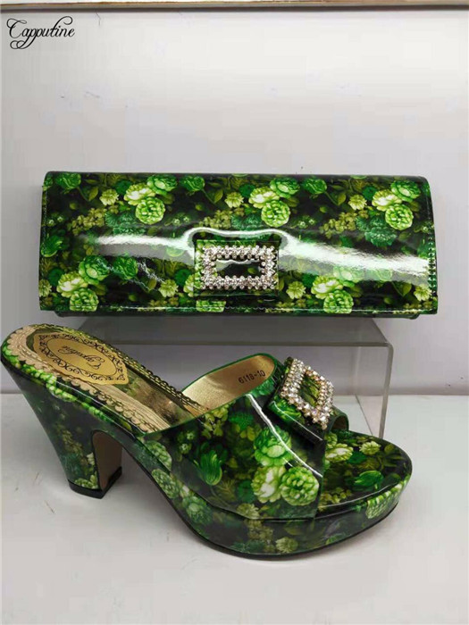 Fashion green African high heel pump shoes matching with handbag set nice sandals and purse bag GY18 heel height 8cmFashion green African high heel pump shoes matching with handbag set nice sandals and purse bag GY18 heel height 8cm
