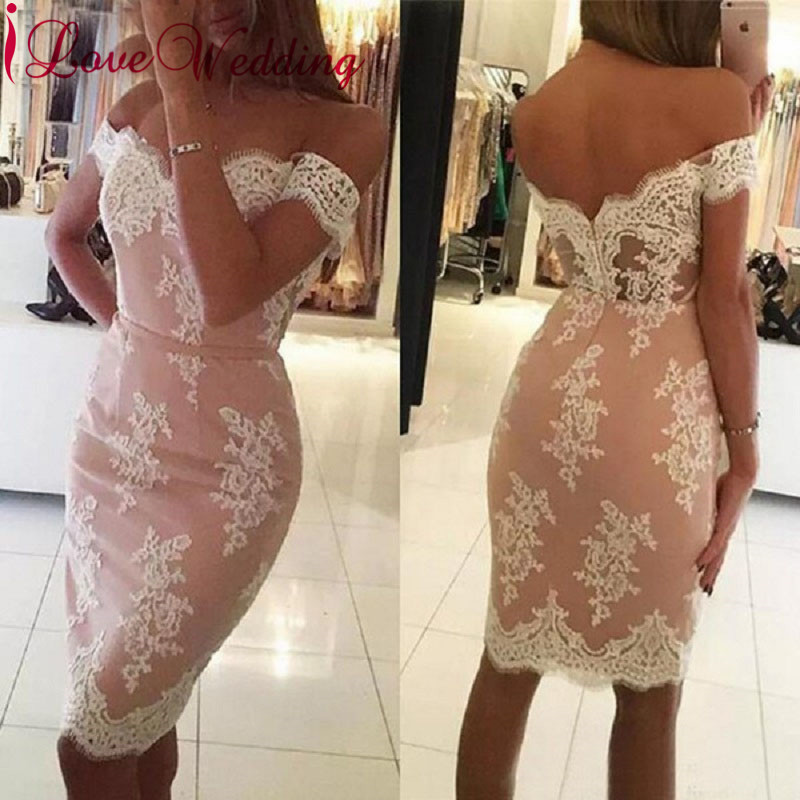 Robe Cocktail 2019 Sweetheart Off the Shoulder Ivory Lace Custom made Pink Lining Knee Length Cocktail Dresses