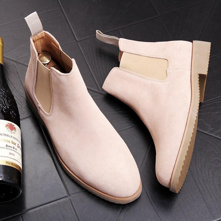 Angleterre style hommes loisirs vache en daim chaussures en cuir simple tendance chaussures partie de bal robe moto cheville chelsea bottes mâle zapatos
