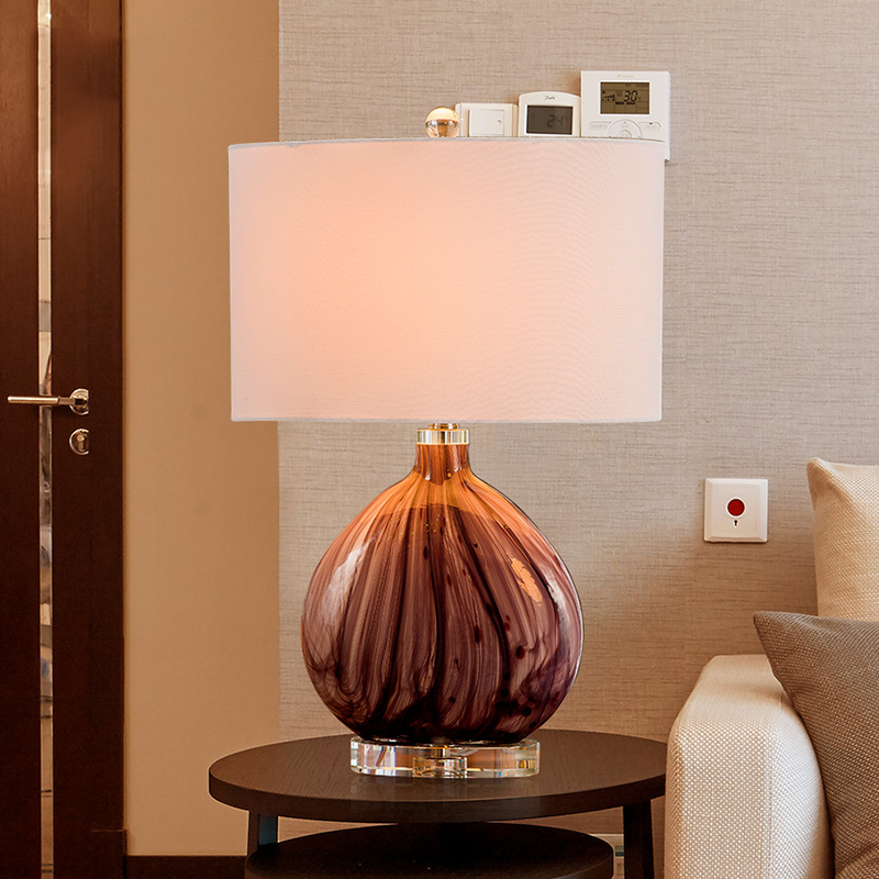 Modern Purple Lines Glass Table Lamp With Crystal Base LED Lamparas Metal Desk E27 Lighting 024#