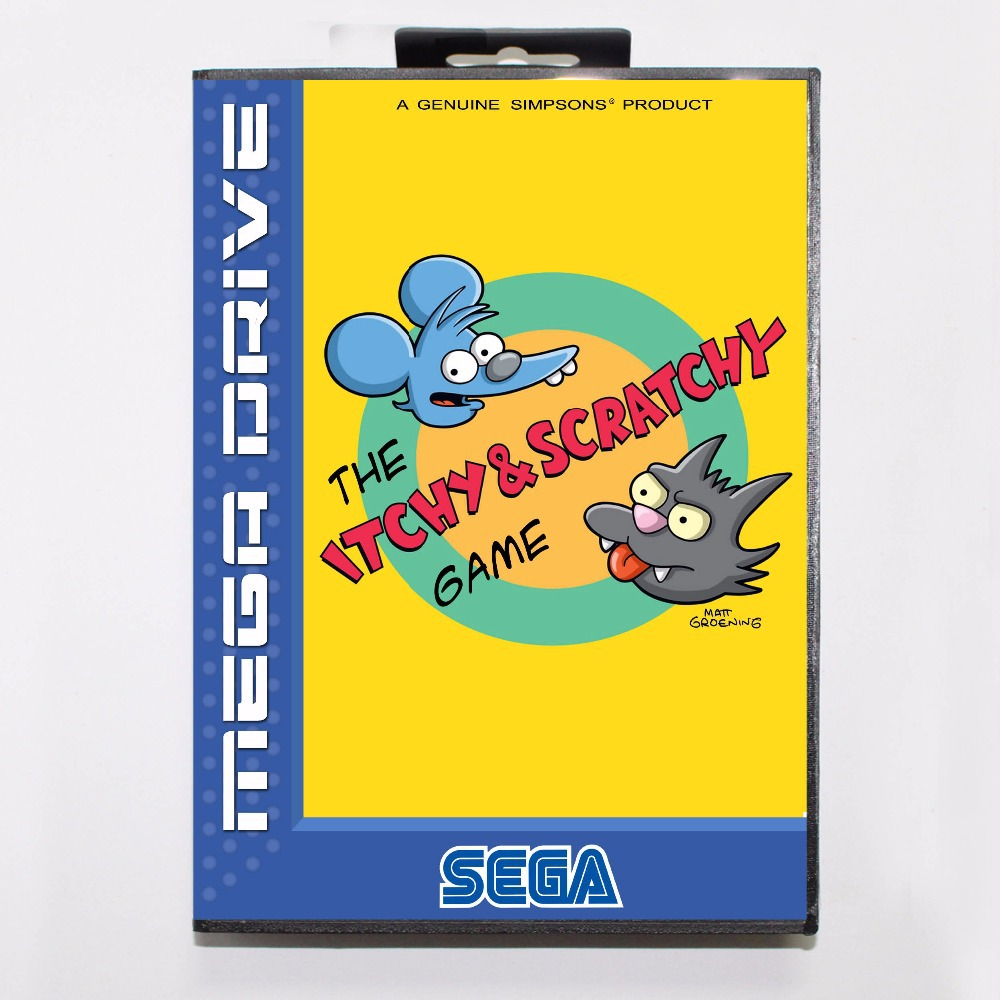 Itchy and Scratchy 16 bit MD Game Card With Retail Box For Sega Megadrive/Genesis image