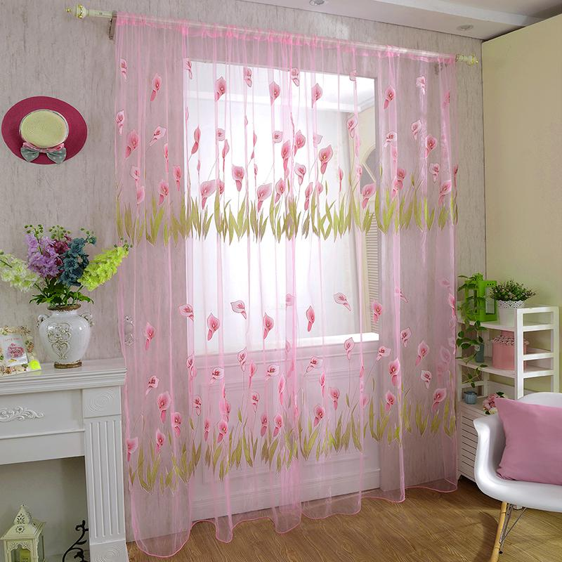 Door Drape Panel Room Curtain Divider Scarf Sheer Curtains For Living Room Voile Window Curtain Decal Cortinas