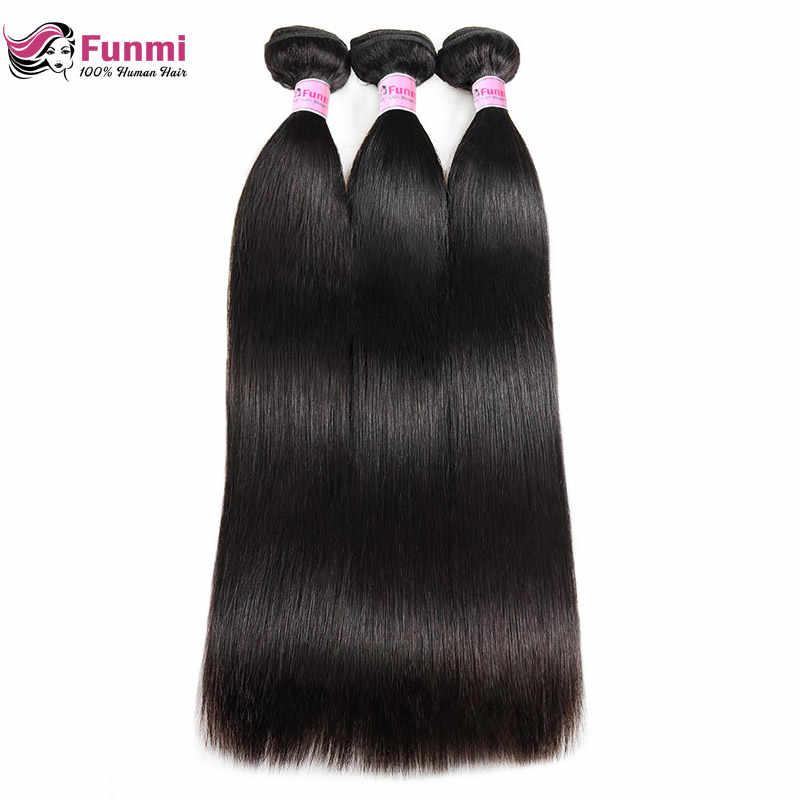 Фунми бразильского Виргинские волосы прямые Weave Связки 1/3/4 бразильские прямые пучки волос плетение 100% необработанные человеческие волосы утка