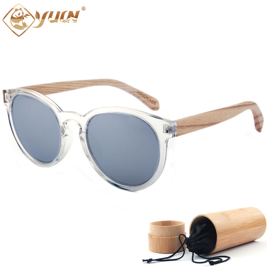aef6ca354 New 2018 fashion wooden arms sunglasses women men retro round polarized  eyewear brand designer shades custom logo available