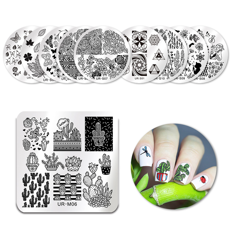 UR SUGAR Square Round Nail Stamping Template Cute Cactus Pot Plants Floral Lace Rose Manicure Nail Art DIY Stamp Plate Stencil