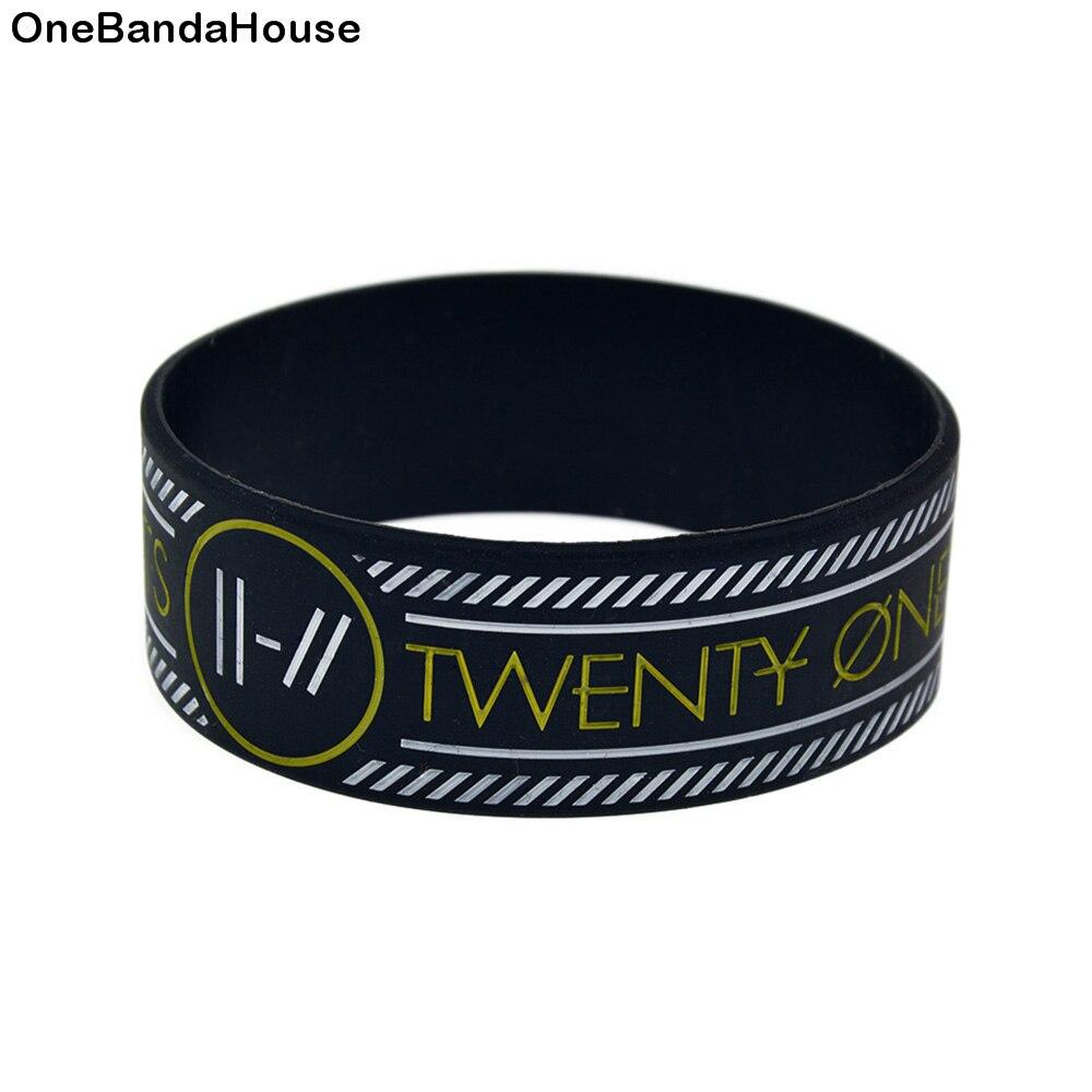 OneBandaHouse 1PC Rock Band Twenty One Pilots Silicone Rubber Wristband 1 Inch Wide Bracelet White Line Logo