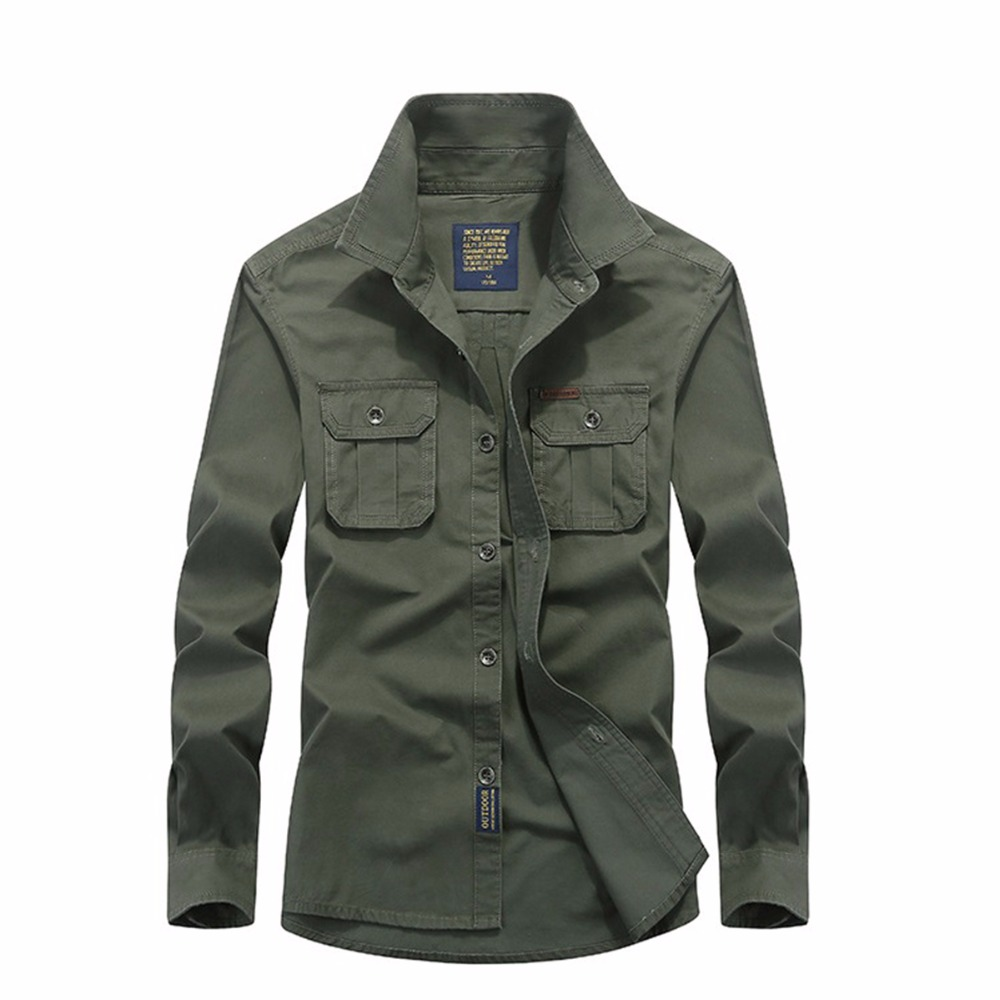 Casual shirt men slim fit military army green male khaki for Best inexpensive dress shirts