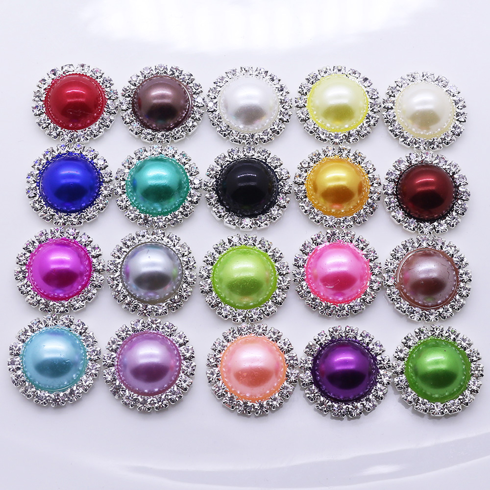 hot sale 10pc 21mm round pearl shiny rhinestone button metal wedding invitations decorate button
