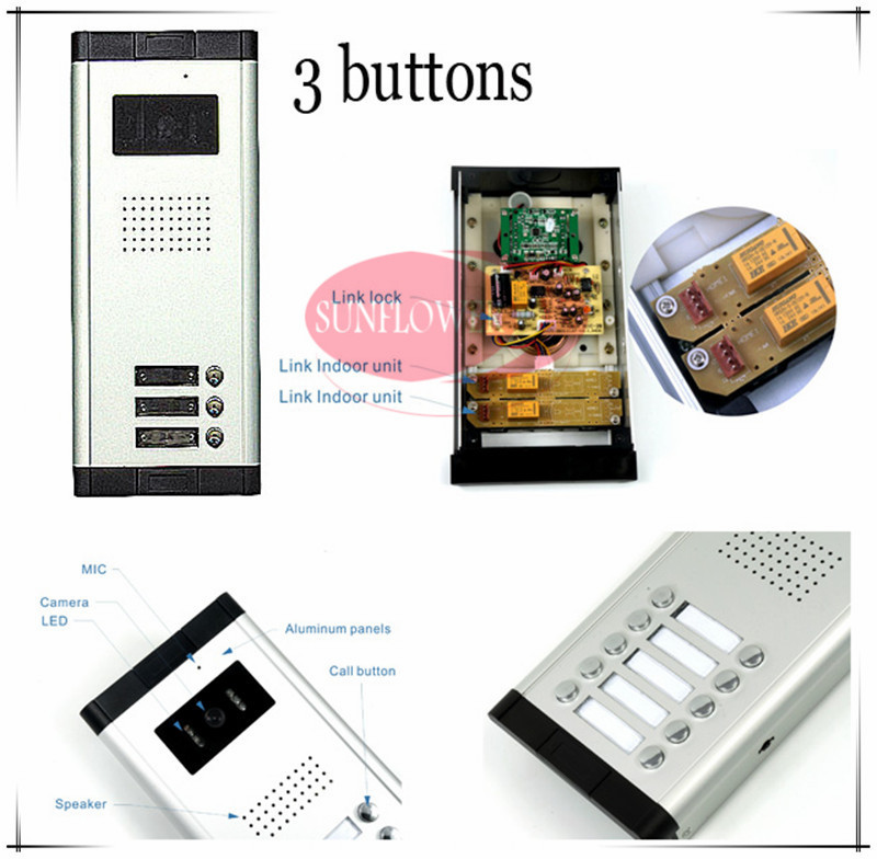 CCD lens outdoor camera Video door phones with 3 buttons for 3 Families/office/villas/apartments/Hotles HD Camera Drop ship access control function video door phones intercom systems for 5 apartments with five 7 lcd and 5 buttons outdoor camera