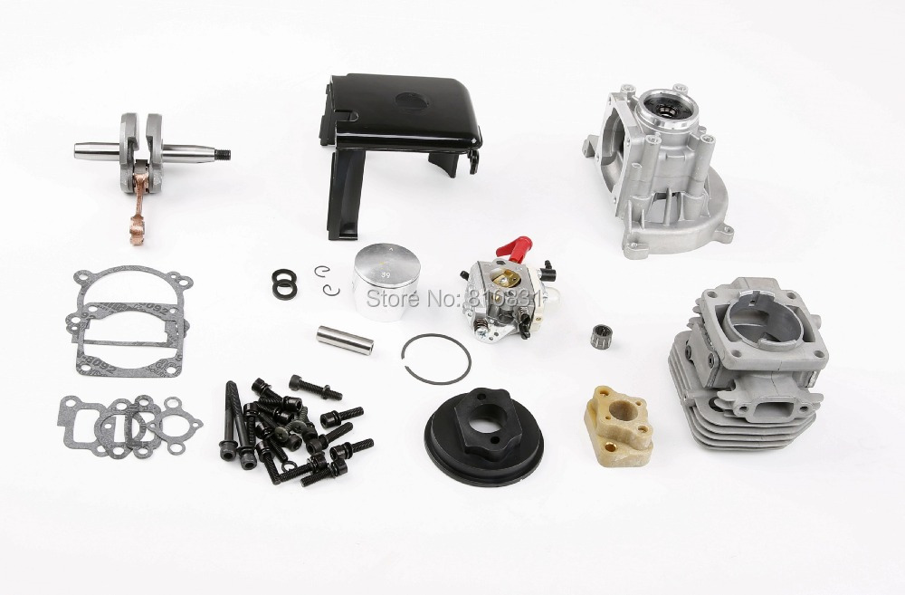 1/5 Rovan 4 Bolt 36cc Scale Gas Engine Kit 36CC Engine Upgraded Parts With 1107 Walbro Carburetor Fit 1/5 LOSI Hpi Km Rv Baja 5B rovan engine 30 5cc 4 bolt kit with 30 5cc cylinder 4 hole crankcase rui xing carburettor for hpi baja 5b parts king motor