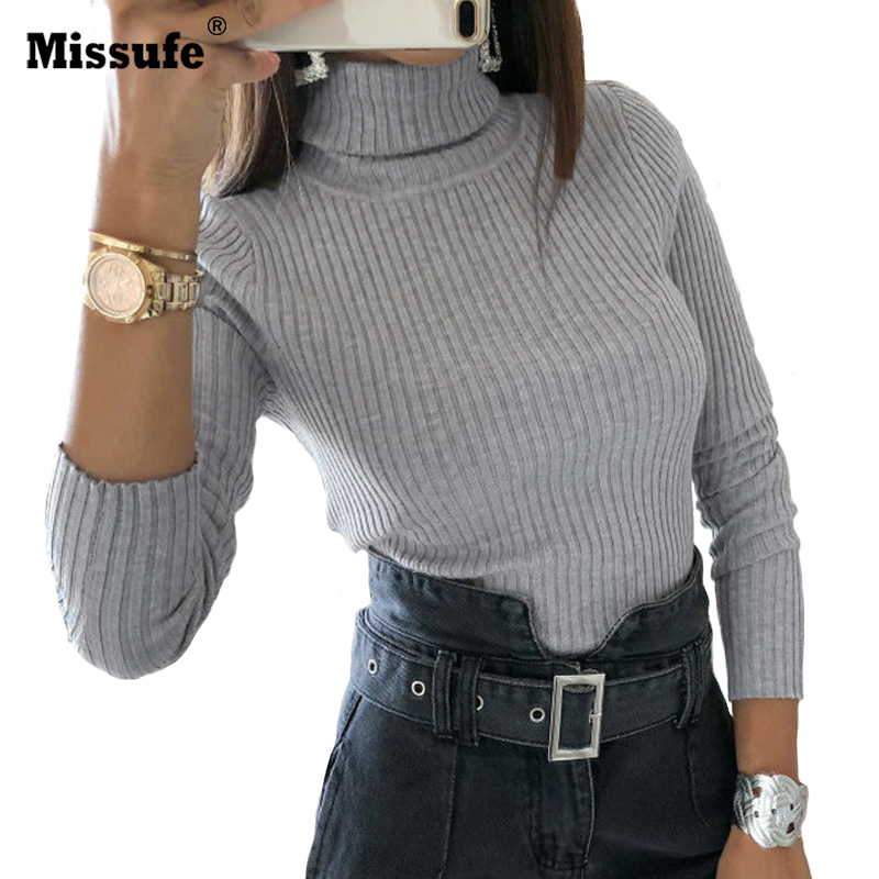 Missufe Turtle Neck Slim Bodysuit Ladies Long Sleeve Knit Rompers Womens   Jumpsuit   Button On The Buttom 2018 Overalls For Women