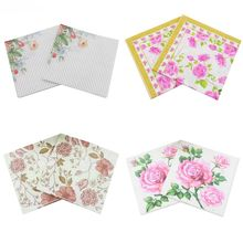 20pcs/lot Rose Printed Paper Napkins Festive Party Paper Plates Tissue Disposable Tableware Floral Decoration  sc 1 st  AliExpress.com & Buy floral paper plates and get free shipping on AliExpress.com