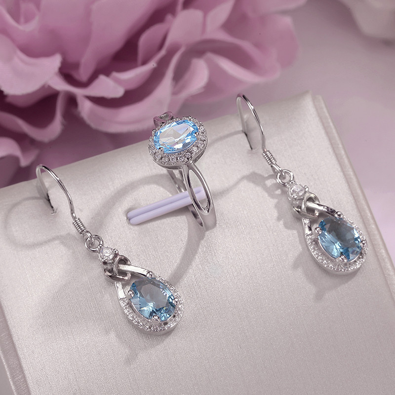 Fine Jewelry Sets For Women 925 Silver Natural Blue Topaz Gemstone Ring Drop Earrings 2PCS Simple Bijoux Accessories CCS010