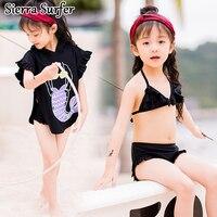 Kids Swimwear For Girls Sexy Bikini Junior Swimsuit Baby Clothes 2018 Summer Children Big Boy Long Sleeve Three Piece Biquini