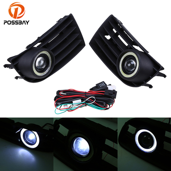 POSSBAY Automobiles Car LED Fog Lights Angel Eyes + Front Grille Grills for VW Golf/Variant/4Motion 2003-2009 Foglamps