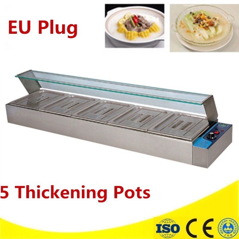 Food Warmer 1.8KW Commercial Kitchen Equipment 5 Pans Electric Bain Marie