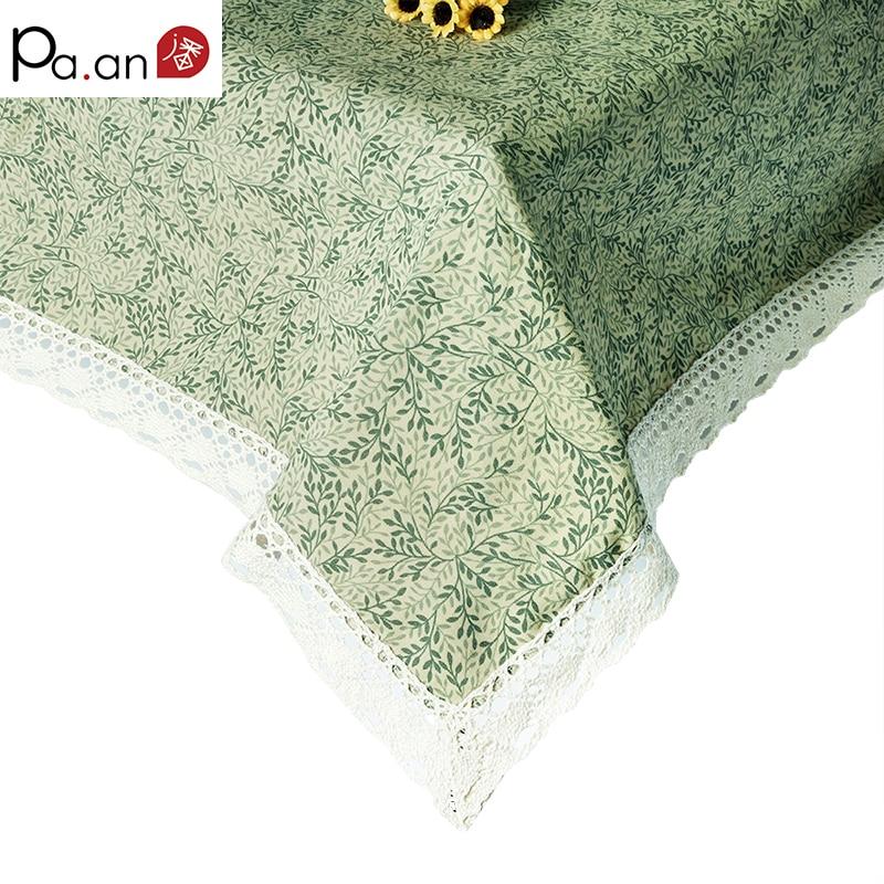Krorean taplak meja katun persegi panjang hijau daun dicetak taplak - Tekstil rumah