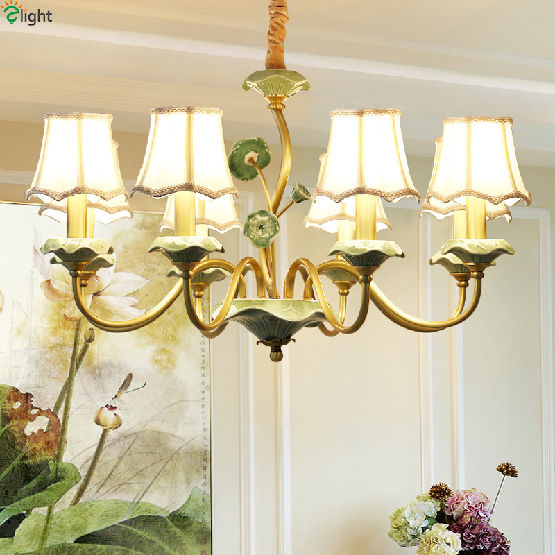 Modern Lustre Copper Metal Led Chandeliers Lighting Ceramic Living Room Led Pendant Chandelier Lights Dining Room Hanging Light modern lustre blue glass led chandeliers lighting copper living room led pendant chandelier lights dining room led hanging light